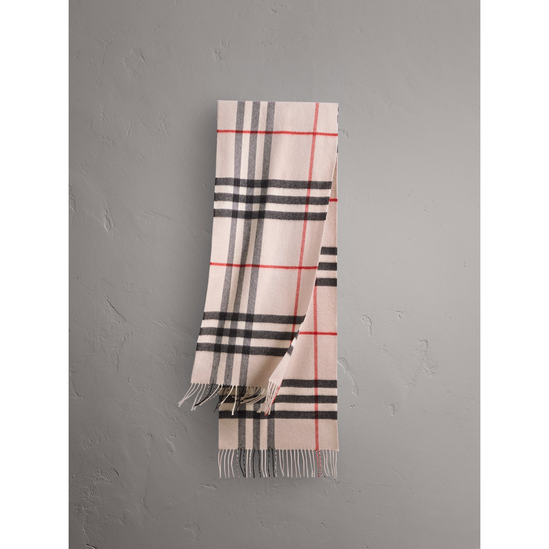 The Classic Check Cashmere Scarf in Stone | Burberry Singapore - gallery image 1