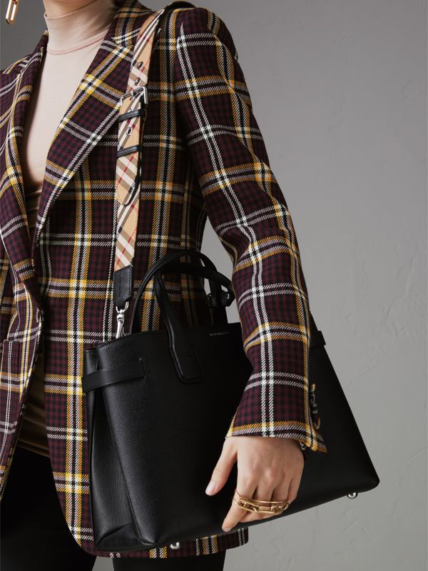The Medium Banner in Leather and Vintage Check in Black - Women | Burberry - cell image 3