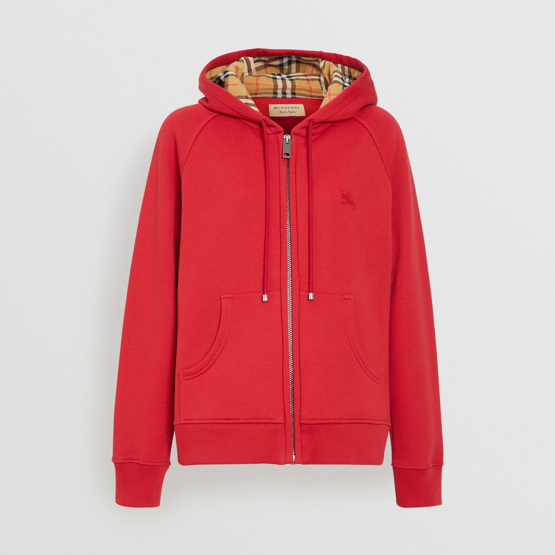 Vintage Check Detail Jersey Hooded Top in Cadmium Red - Women | Burberry United Kingdom - gallery image 3