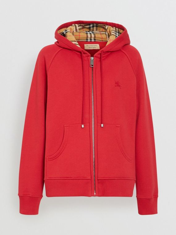 Vintage Check Detail Jersey Hooded Top in Cadmium Red