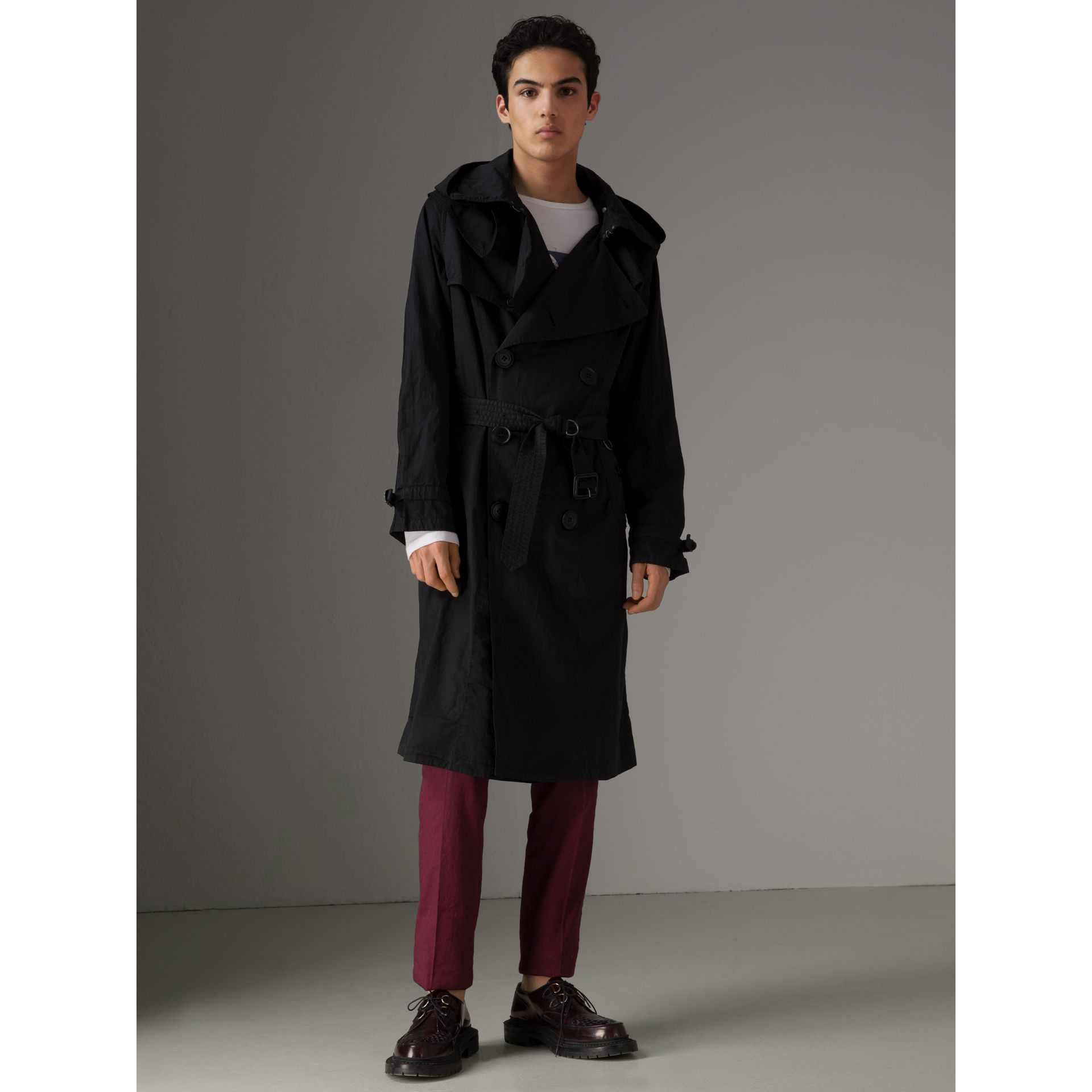 Detachable Hood Cotton Trench Coat in Black - Men | Burberry - gallery image 4