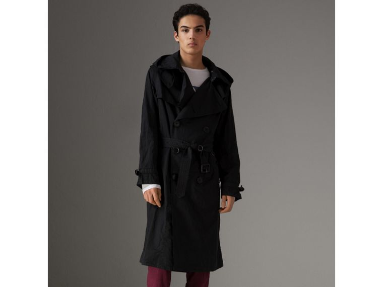 Detachable Hood Cotton Trench Coat in Black - Men | Burberry Singapore - cell image 4