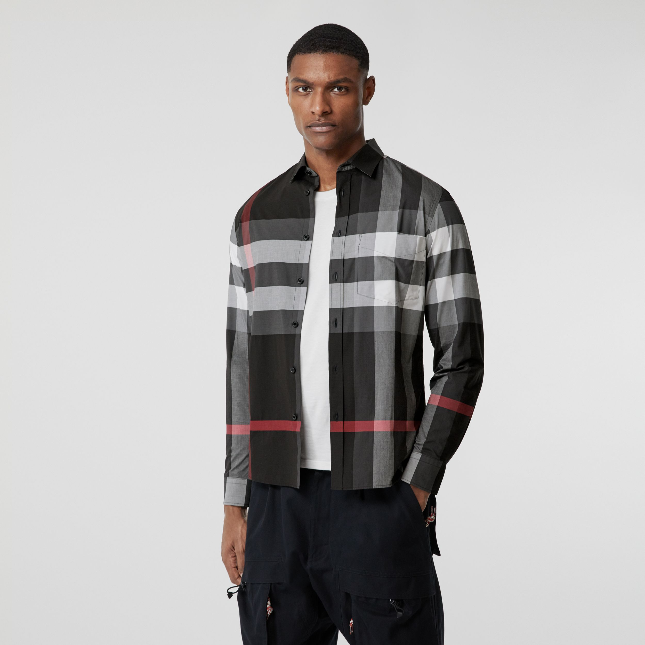 Check Stretch Cotton Poplin Shirt in Charcoal - Men | Burberry - 1