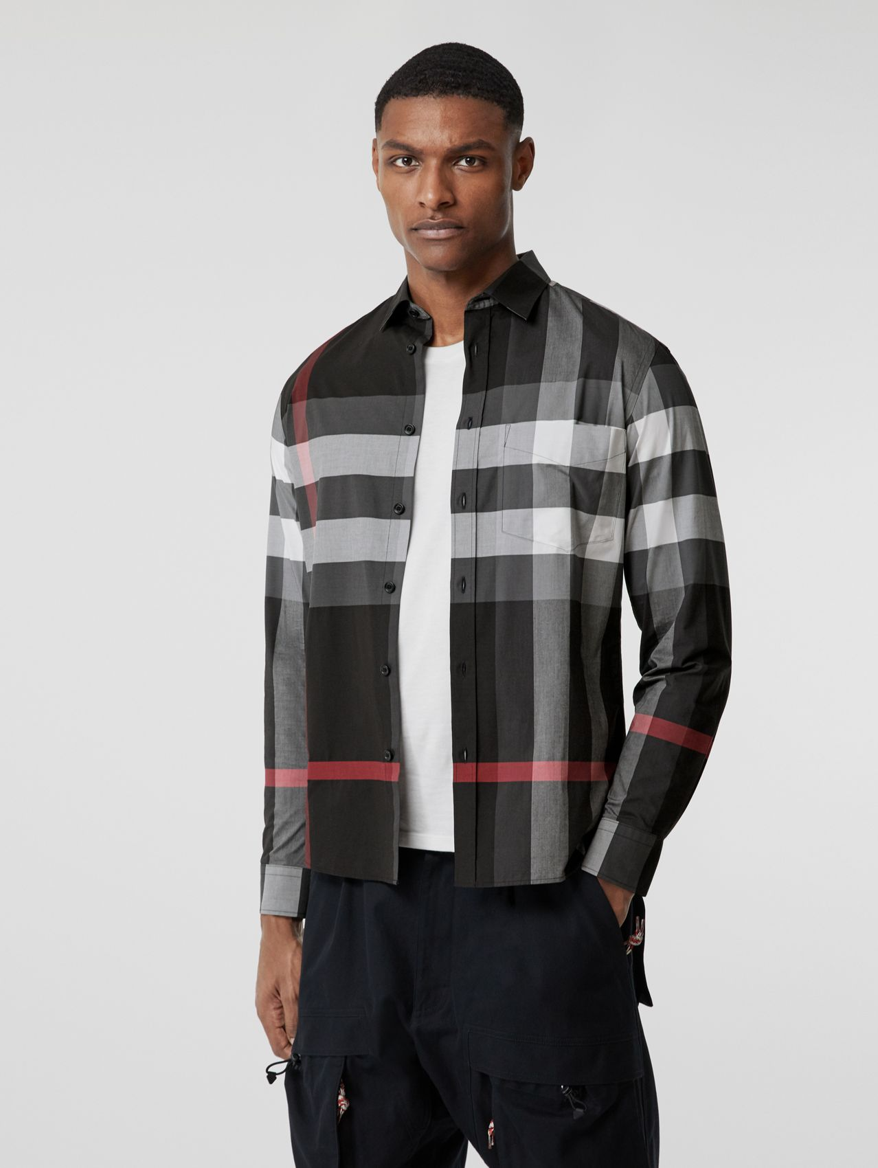 Check Stretch Cotton Poplin Shirt in Charcoal