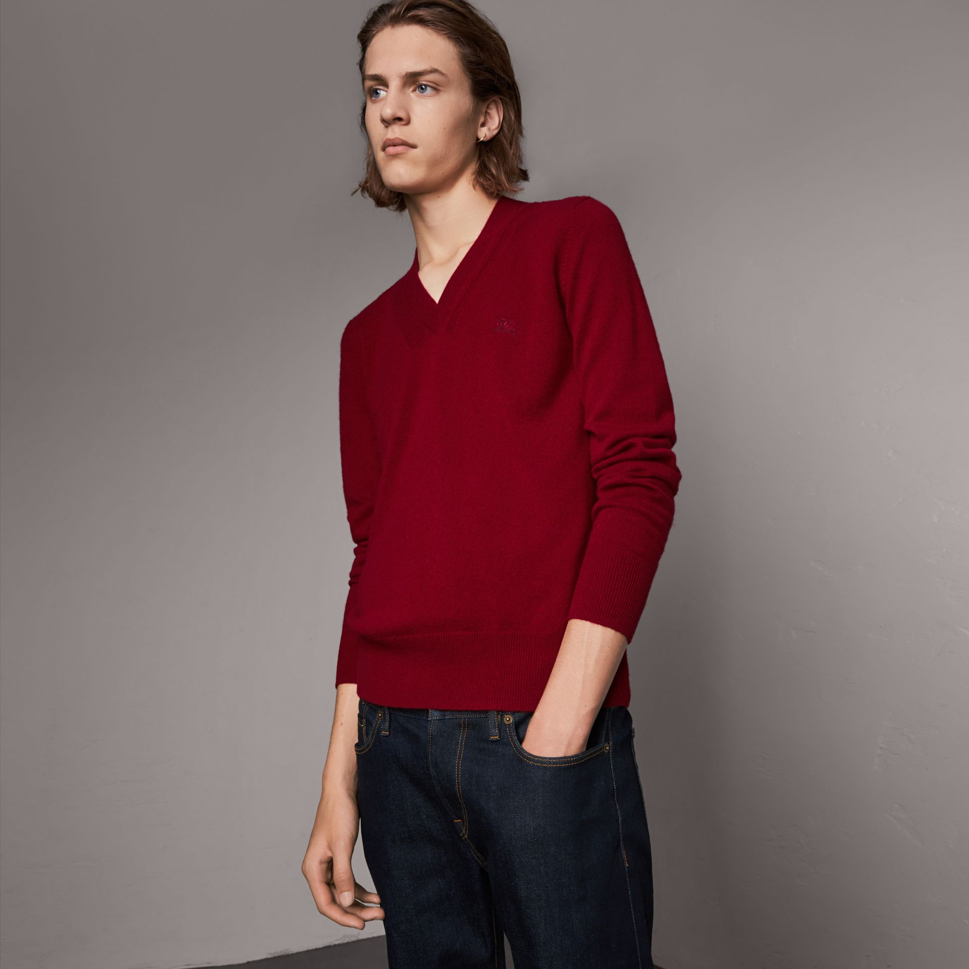 Cashmere V-neck Sweater in Crimson Red - Men | Burberry United Kingdom - gallery image 0