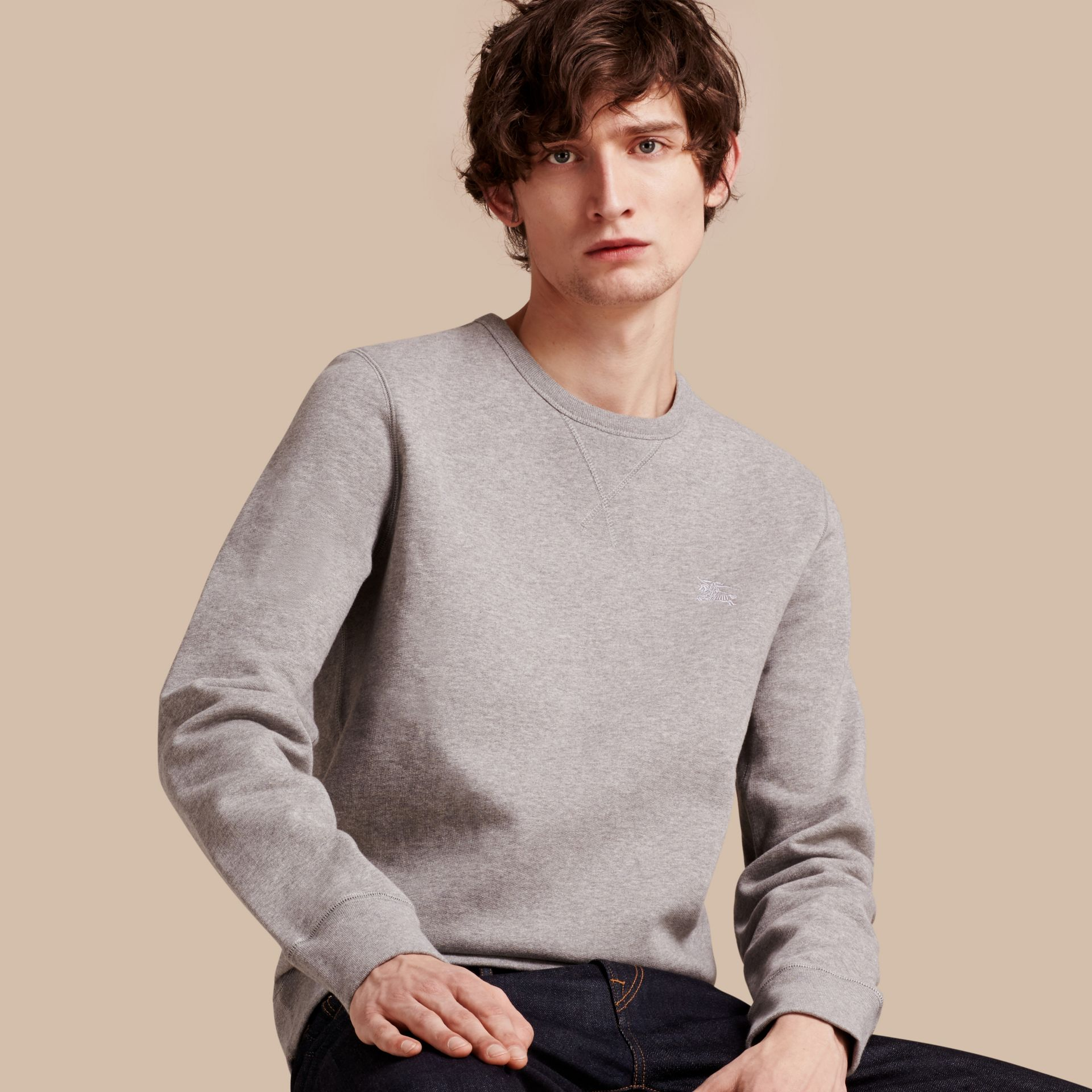 Pale grey melange Cotton Blend Jersey Sweatshirt Pale Grey Melange - gallery image 1