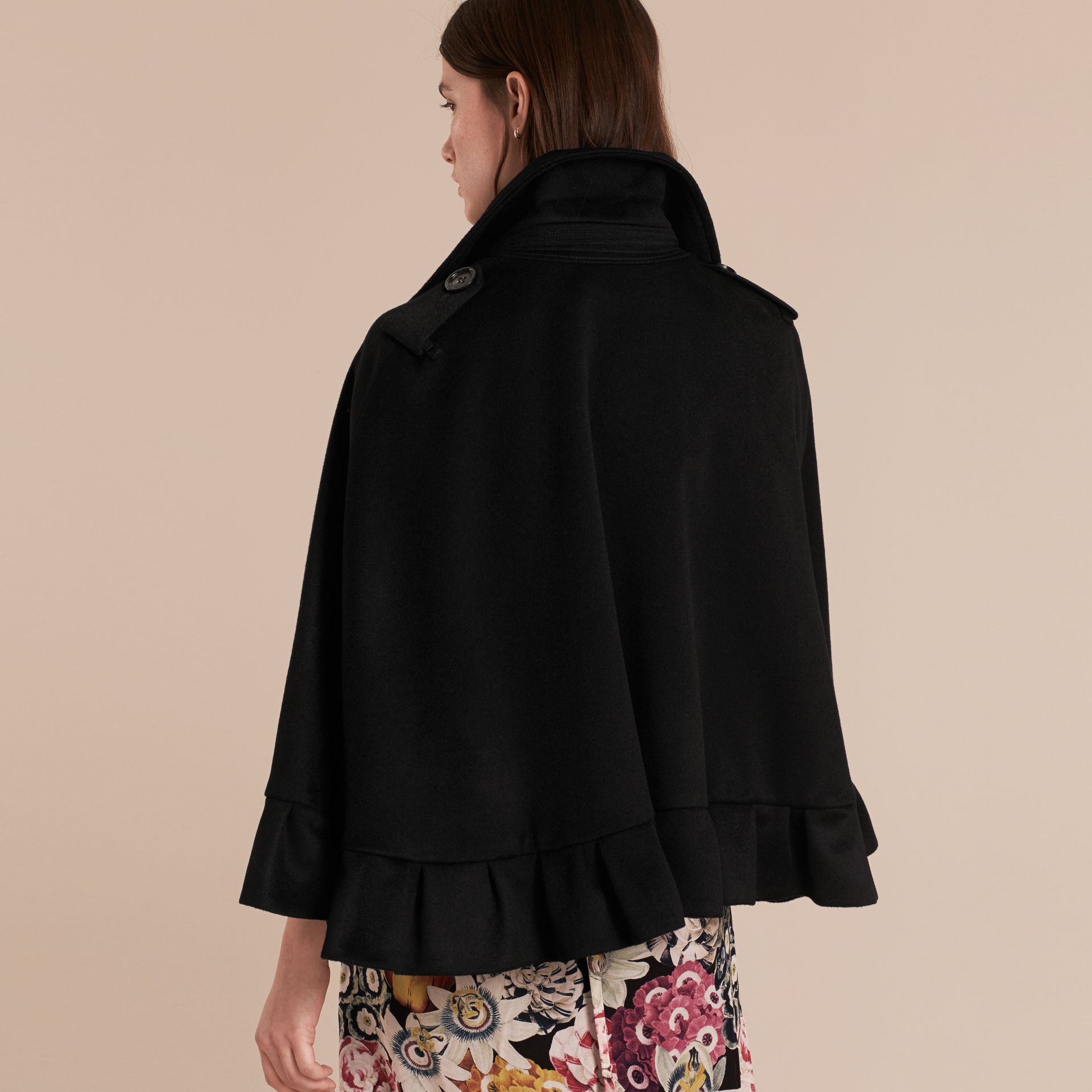 Black Ruffle Detail Cashmere Cape - gallery image 3