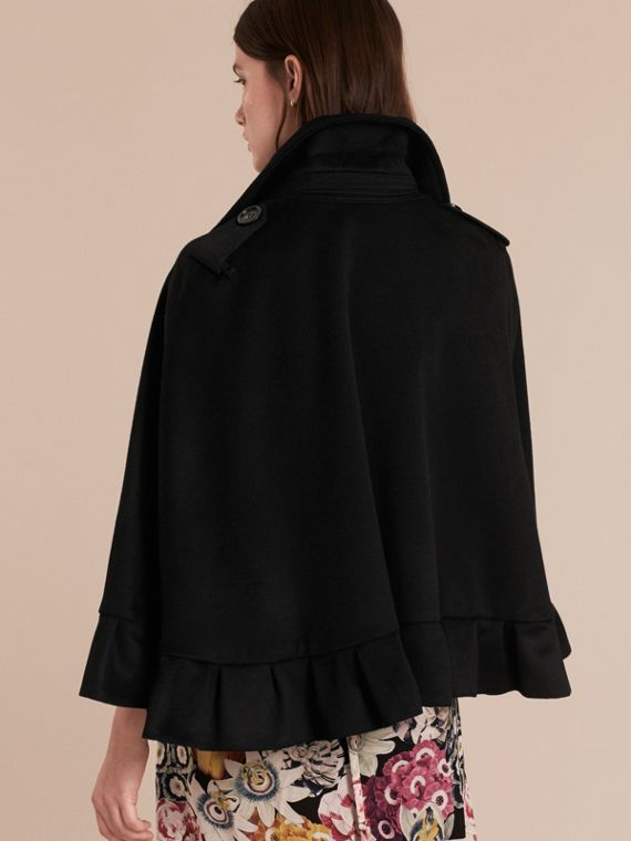 Black Ruffle Detail Cashmere Cape - cell image 2