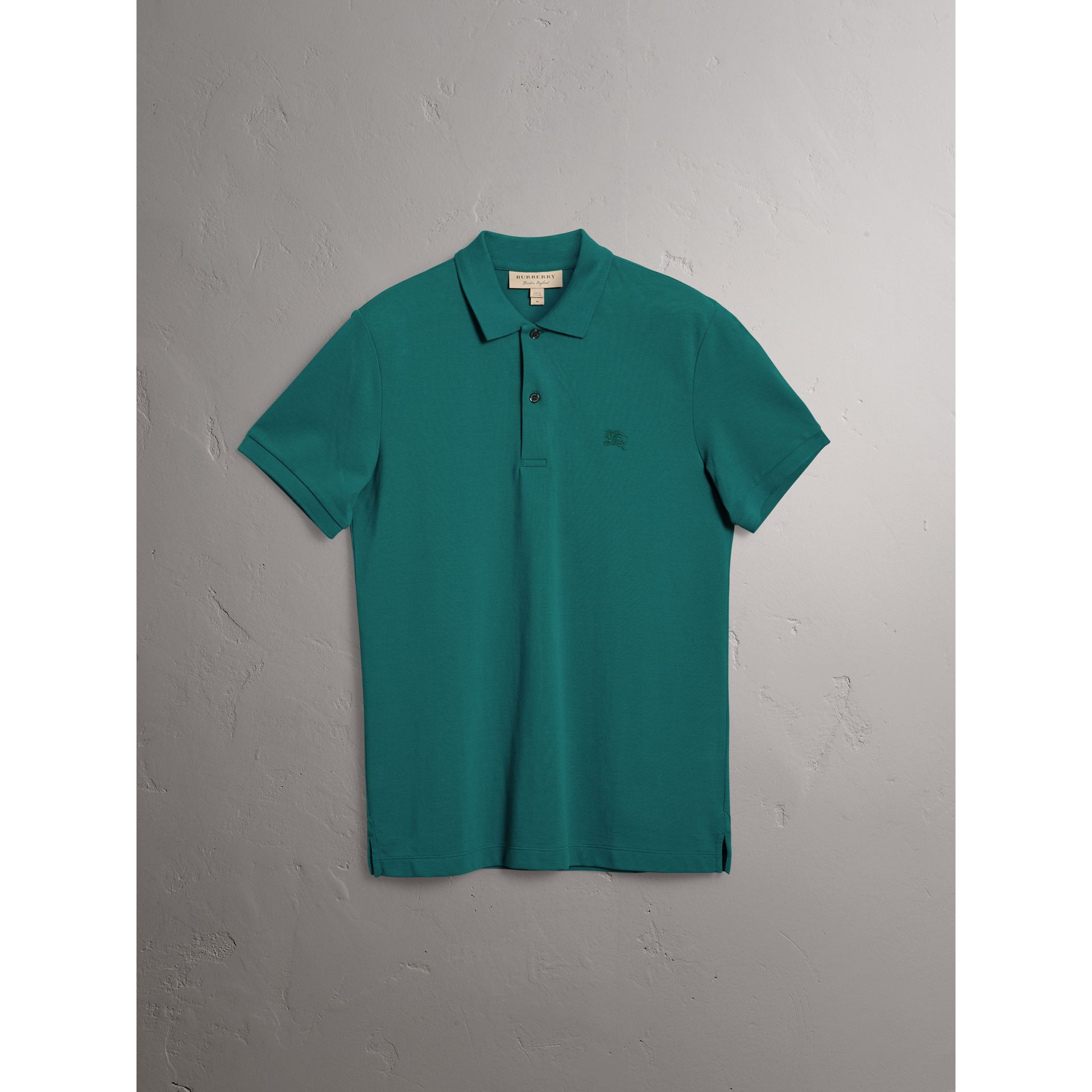 Check Placket Cotton Piqué Polo Shirt in Pine Green - Men | Burberry - gallery image 3