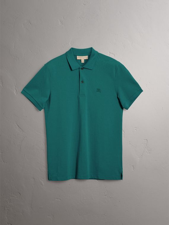 Check Placket Cotton Piqué Polo Shirt in Pine Green