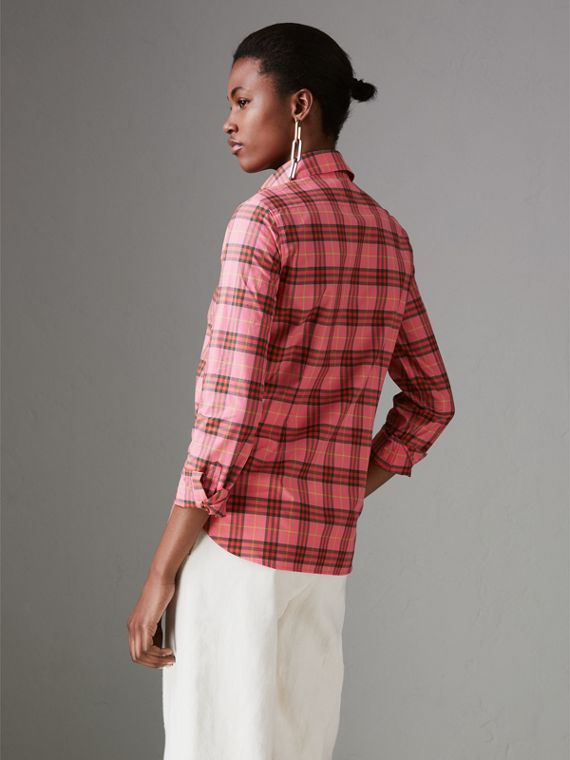 Check Cotton Shirt in Coral Red - Women | Burberry United Kingdom - cell image 2