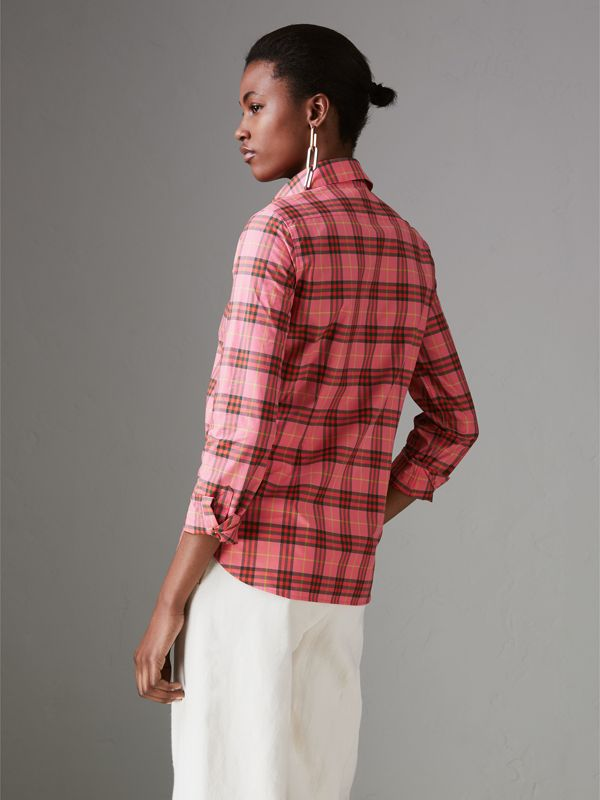 Check Cotton Shirt in Coral Red - Women | Burberry Singapore - cell image 2