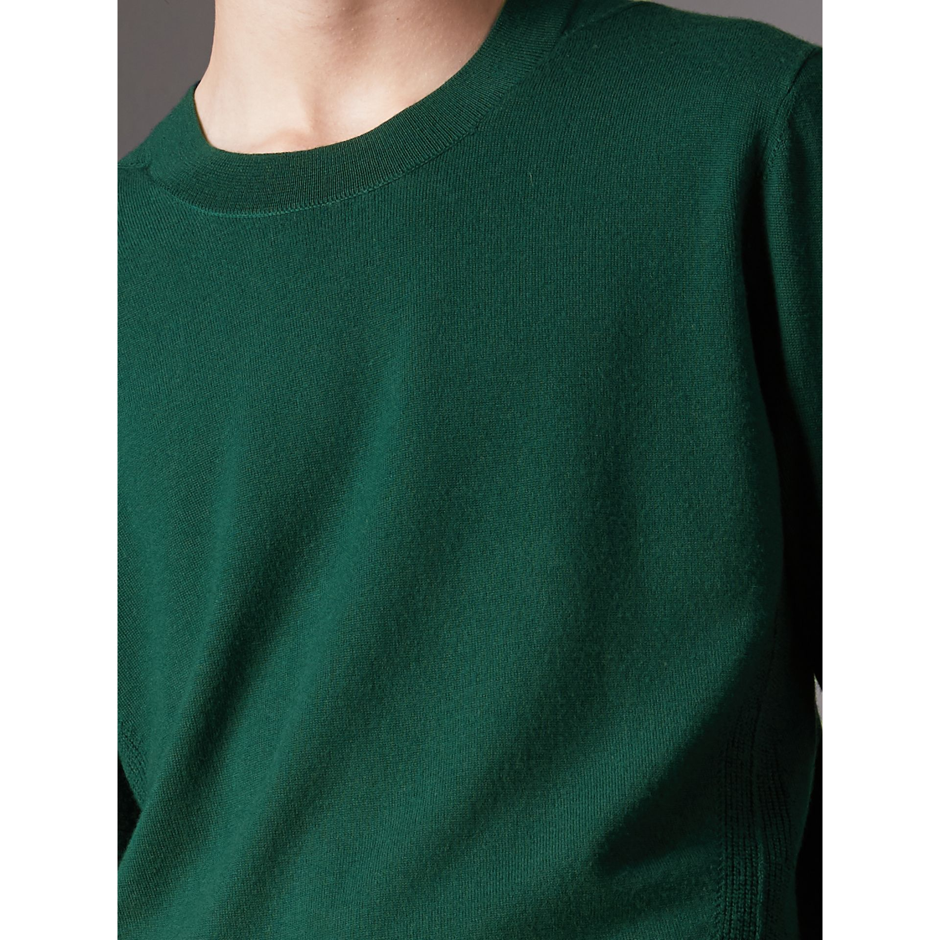 Check Detail Merino Wool Sweater in Dark Teal - Men | Burberry Singapore - gallery image 1