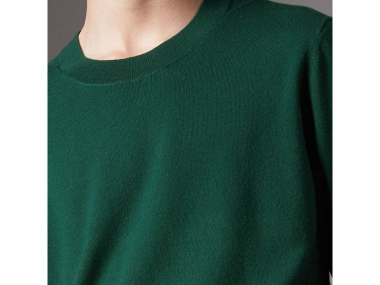Check Detail Merino Wool Sweater in Dark Teal - Men | Burberry Australia - cell image 1