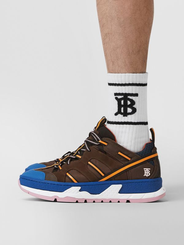 Nylon and Mesh Union Sneakers in Coffee/blue - Men | Burberry Singapore - cell image 2