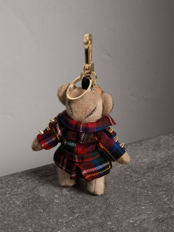 Thomas Bear Charm in Tartan Wool Trench Coat in Parade Red | Burberry Australia - cell image 3