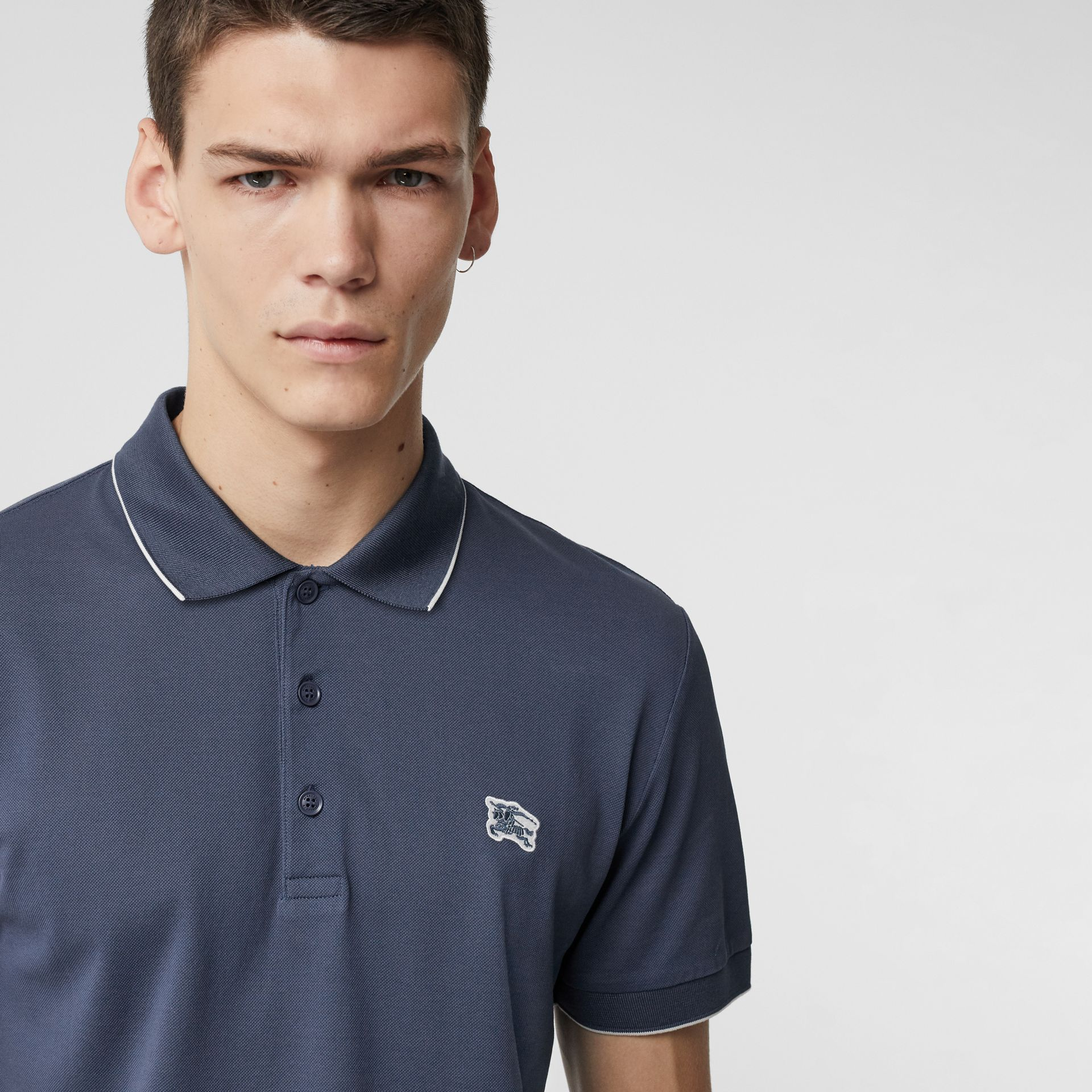 Tipped Cotton Piqué Polo Shirt in Steel Blue - Men | Burberry Canada - gallery image 1