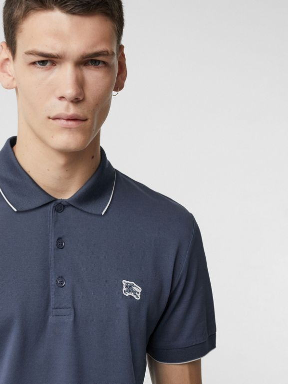 Tipped Cotton Piqué Polo Shirt in Steel Blue - Men | Burberry - cell image 1