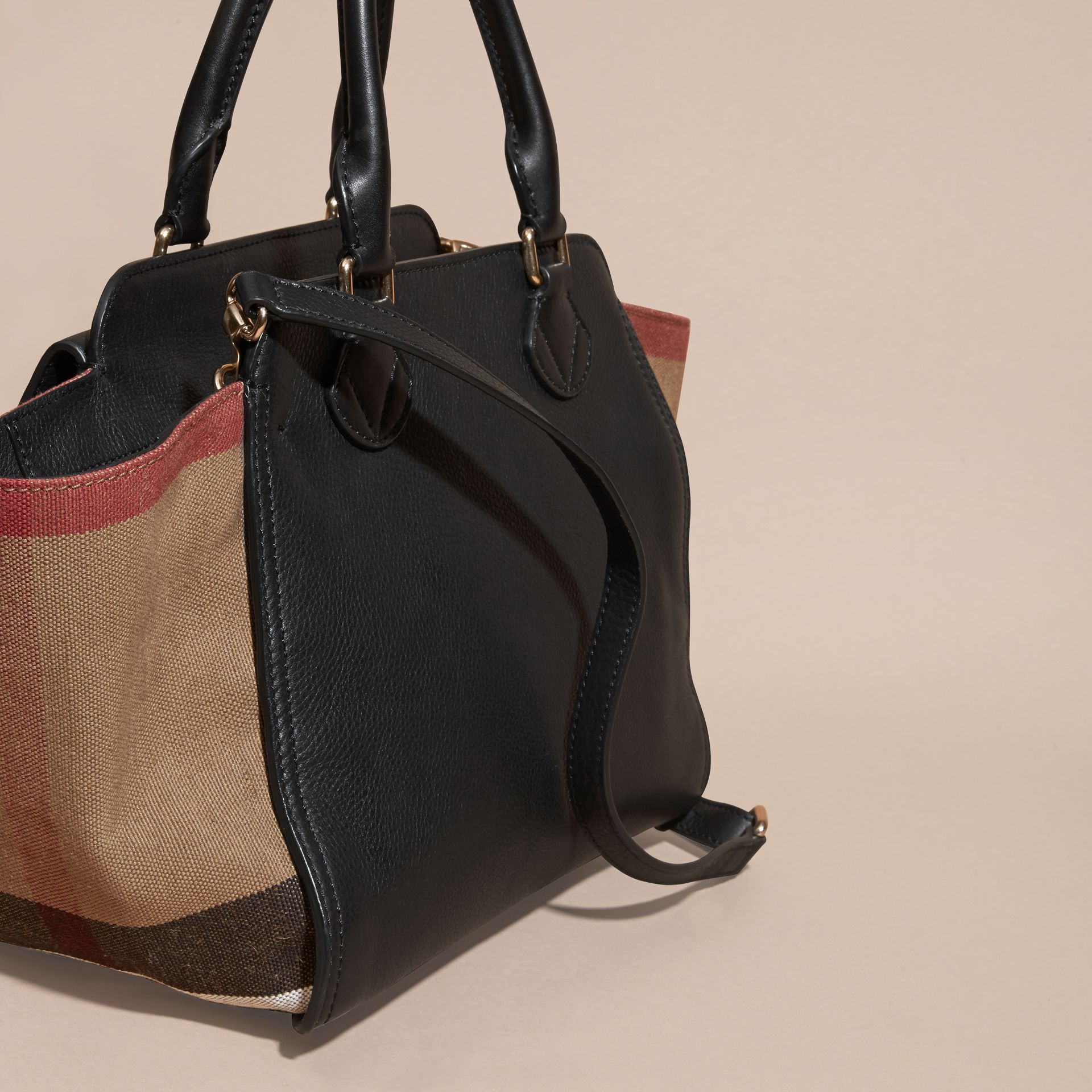 Black Medium Canvas Check and Leather Tote Bag Black - gallery image 4