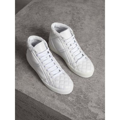 Check-Quilted Leather High-Top Sneakers, Optic White