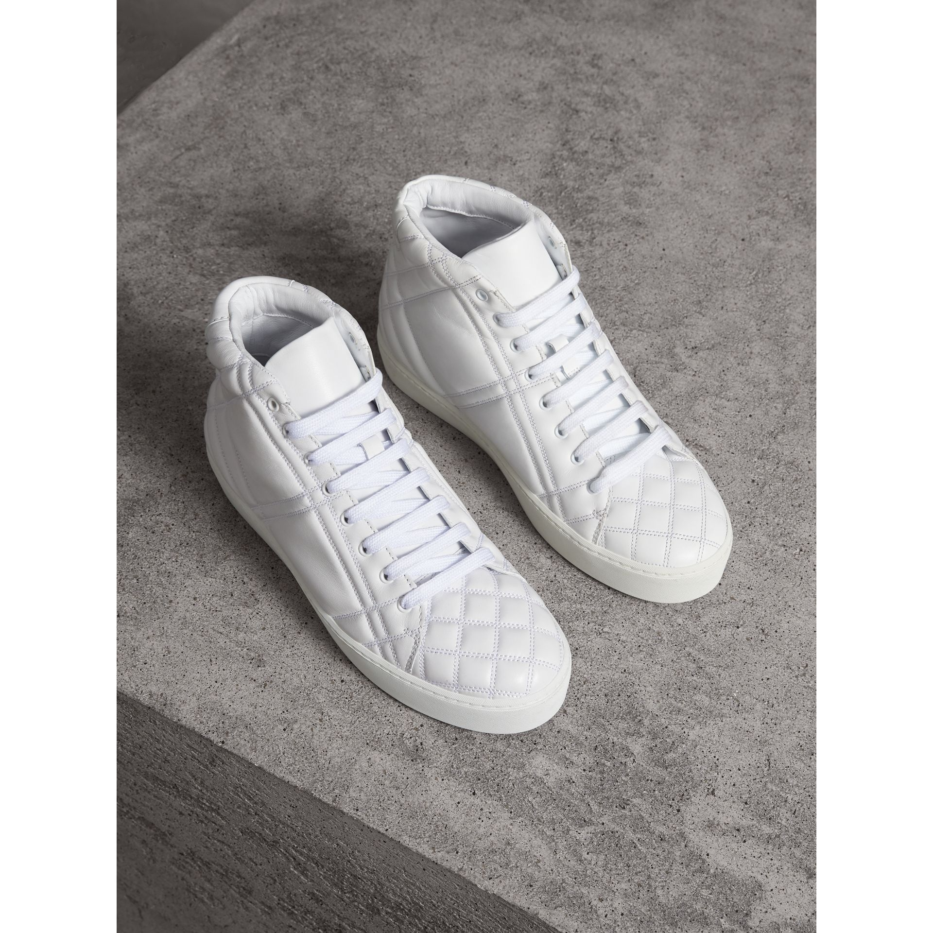 Check-quilted Leather High-top Trainers in Optic White - Women | Burberry - gallery image 1