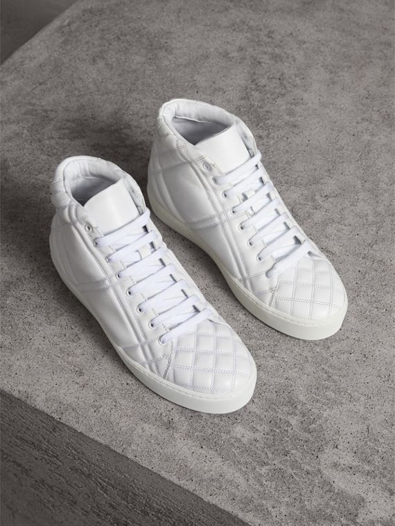 Check-quilted Leather High-top Trainers in Optic White - Women | Burberry