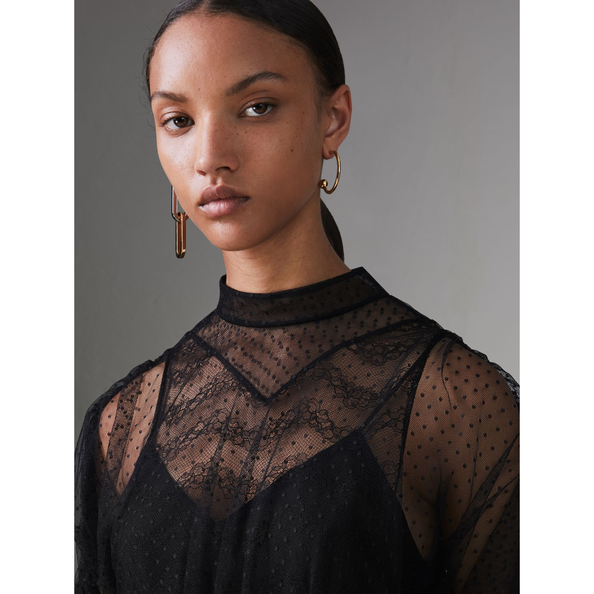 Gathered-sleeve Geometric Lace Dress in Black - Women | Burberry Canada - gallery image 1