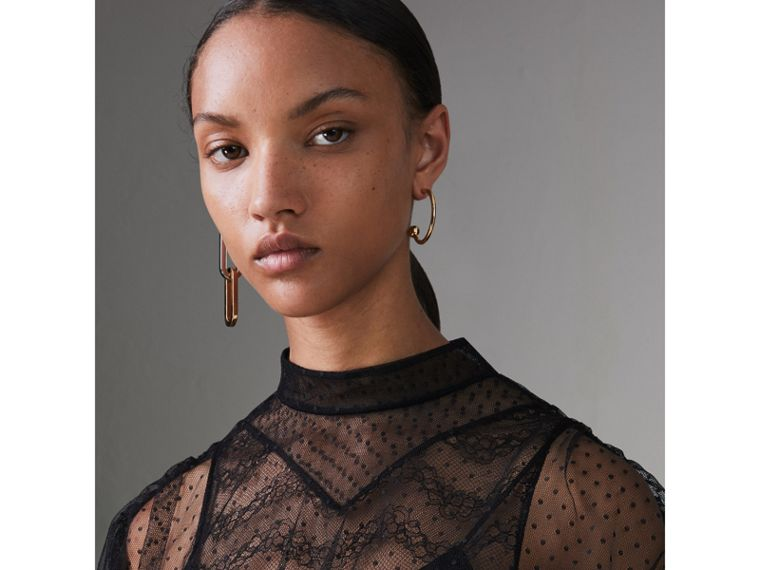Gathered-sleeve Geometric Lace Dress in Black - Women | Burberry - cell image 1