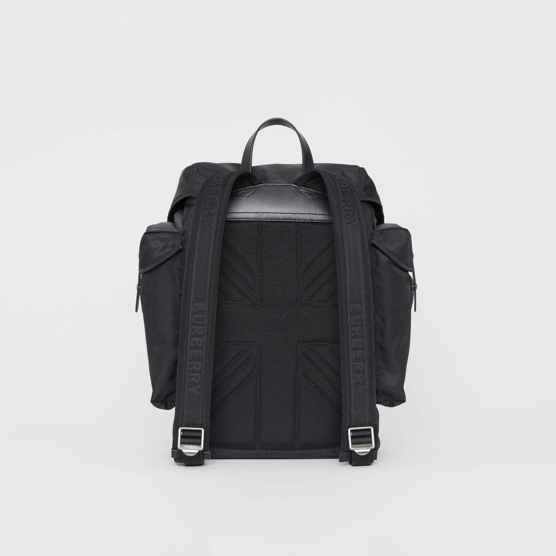 Medium Leather Trim Nylon Backpack in Black | Burberry Canada - gallery image 4