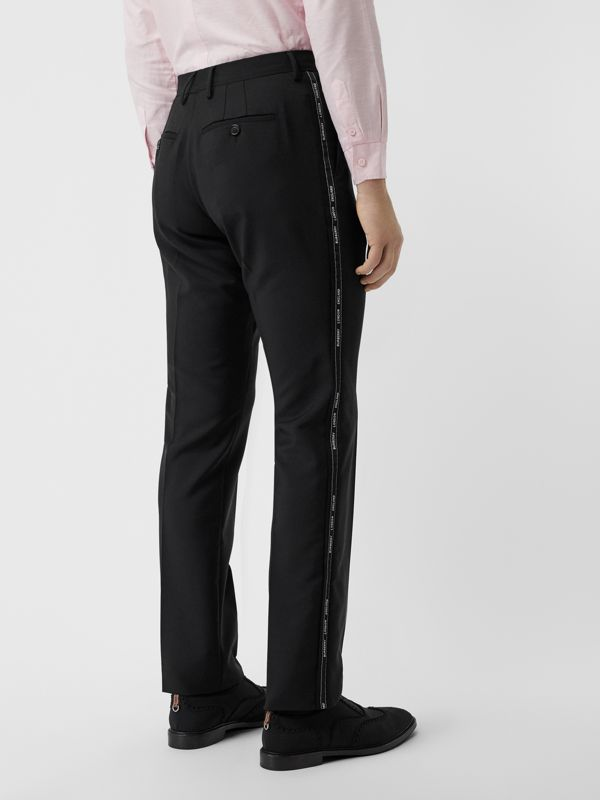 Classic Fit Logo Detail Wool Mohair Tailored Trousers in Black | Burberry Australia - cell image 2
