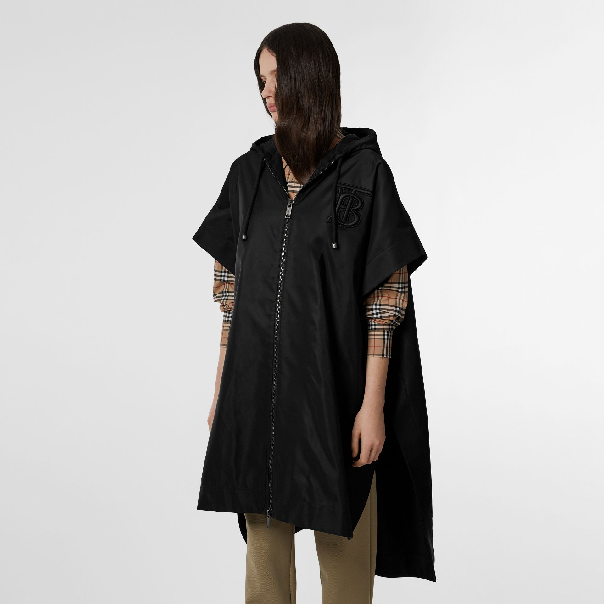 Monogram Motif Nylon Oversized Hooded Poncho in Black | Burberry - gallery image 10