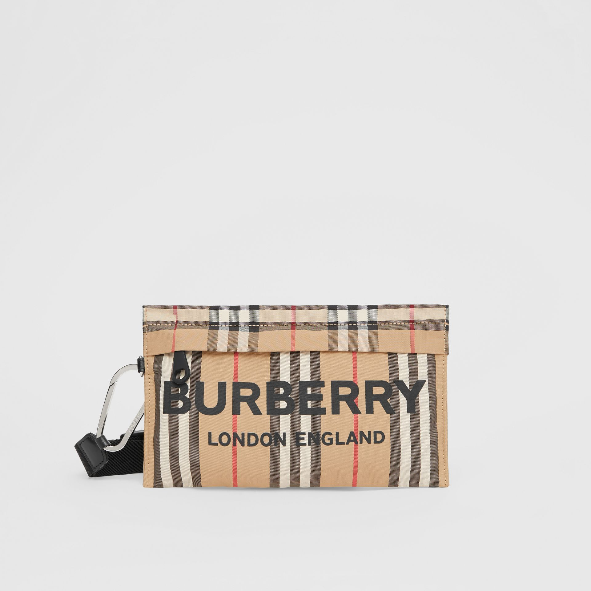 Logo Print Icon Stripe Nylon Zip Pouch in Archive Beige - Women | Burberry - gallery image 0