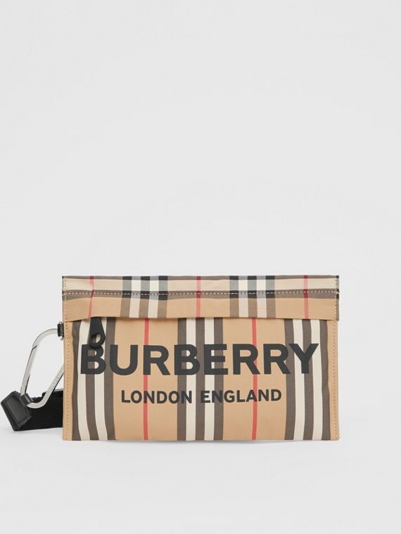 Logo Print Icon Stripe Nylon Zip Pouch in Archive Beige