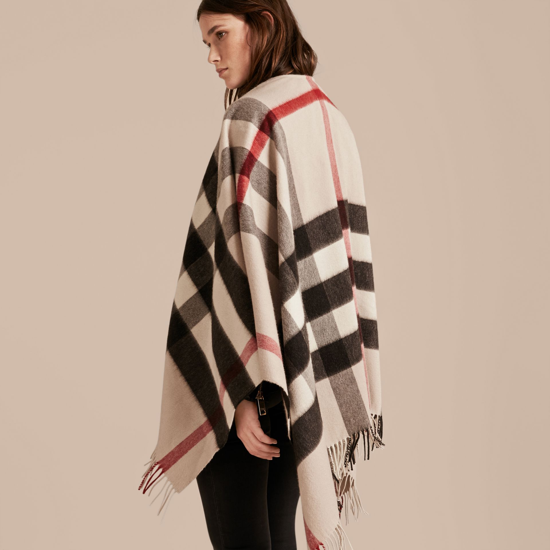 Check Cashmere and Wool Poncho Stone - gallery image 3