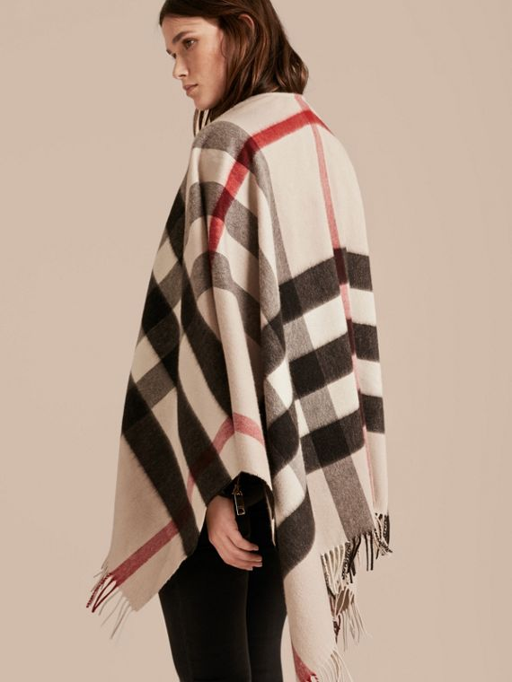Check Cashmere and Wool Poncho Stone - cell image 2