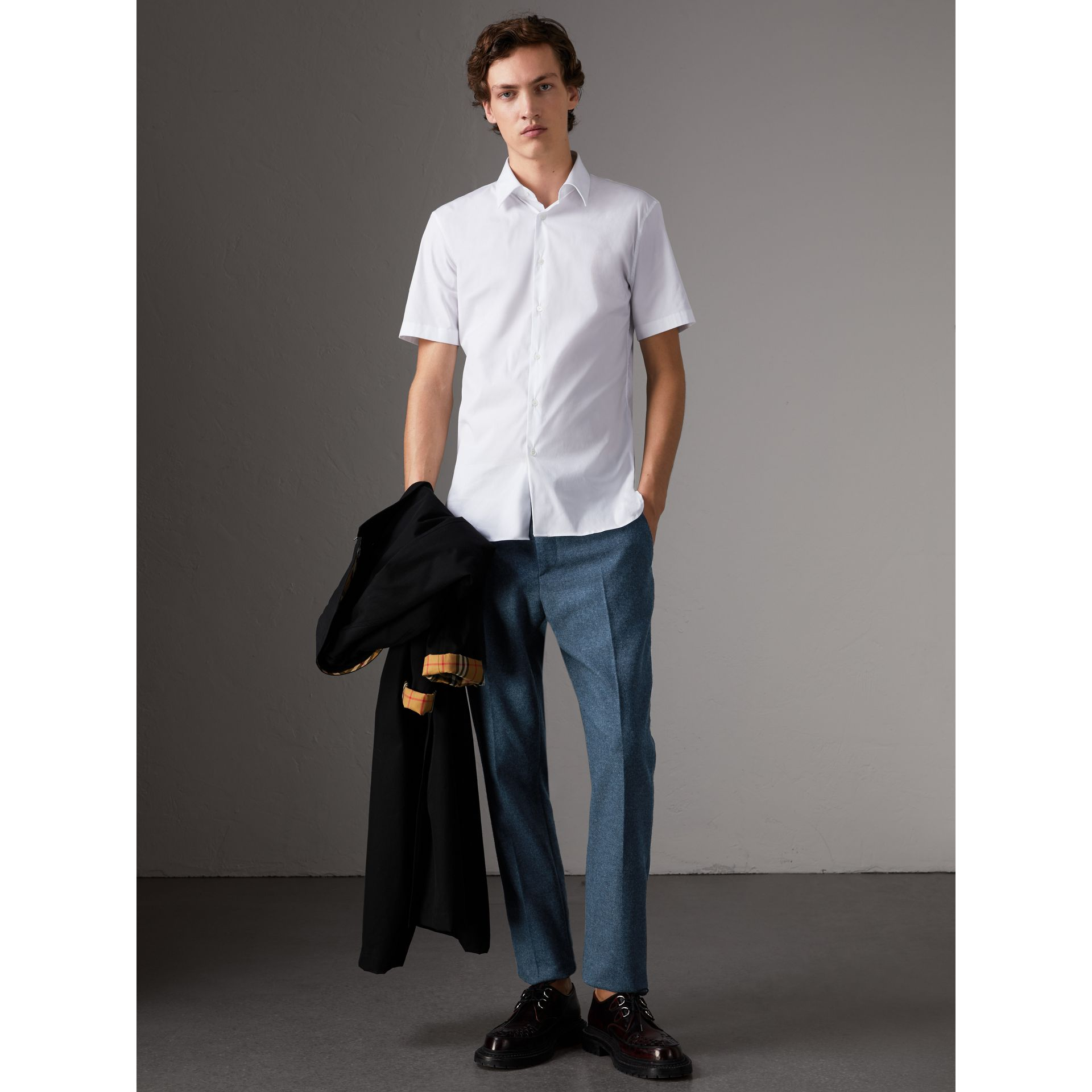 Slim Fit Short-sleeved Stretch Cotton Shirt in White - Men | Burberry - gallery image 0