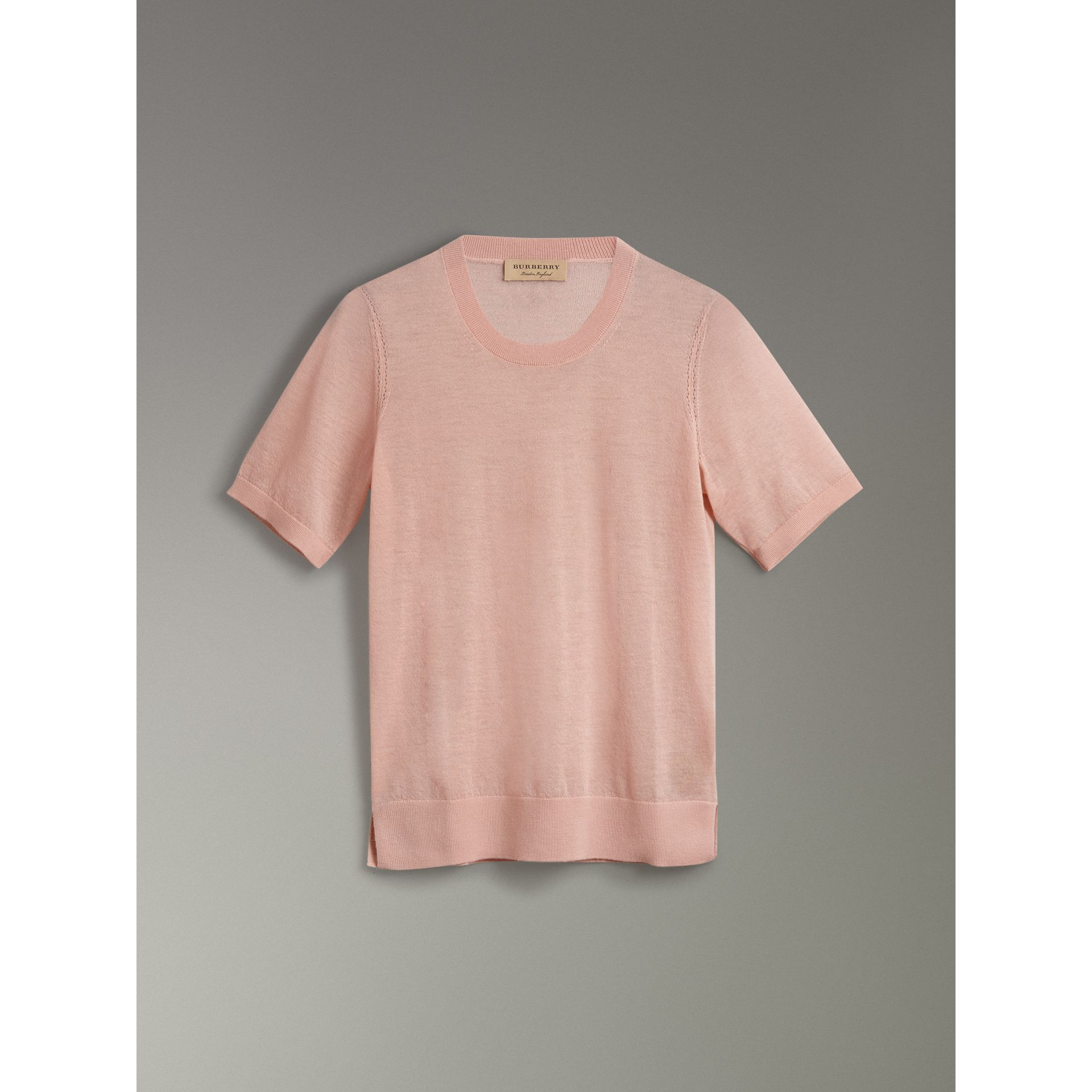 Short-sleeve Cashmere Sweater in Thistle Pink - Women | Burberry United Kingdom - gallery image 3