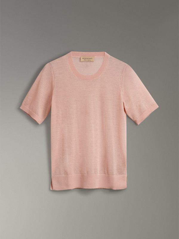Short-sleeve Cashmere Sweater in Thistle Pink - Women | Burberry - cell image 3
