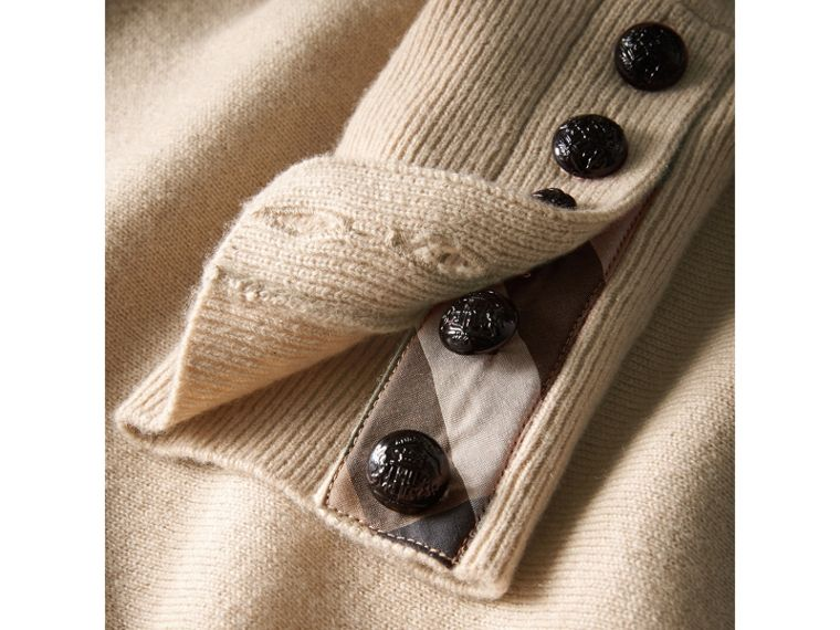 Cable Knit Yoke Cashmere Sweater in Taupe Melange - Women | Burberry Singapore - cell image 4