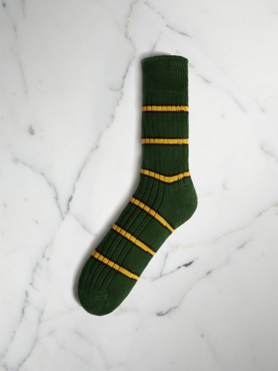 Striped Knitted Cotton Socks in Emerald Green