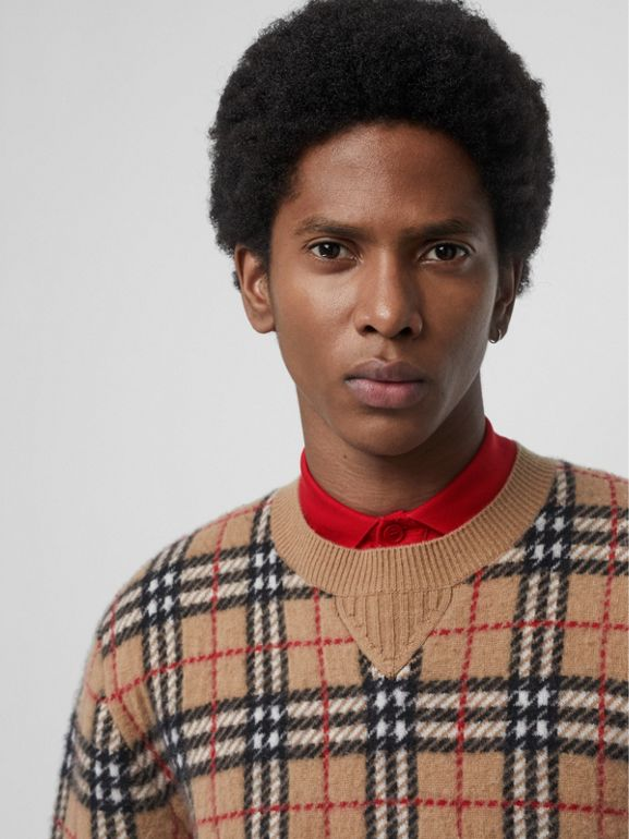 Vintage Check Cashmere Jacquard Sweater in Camel - Men | Burberry Hong Kong - cell image 1