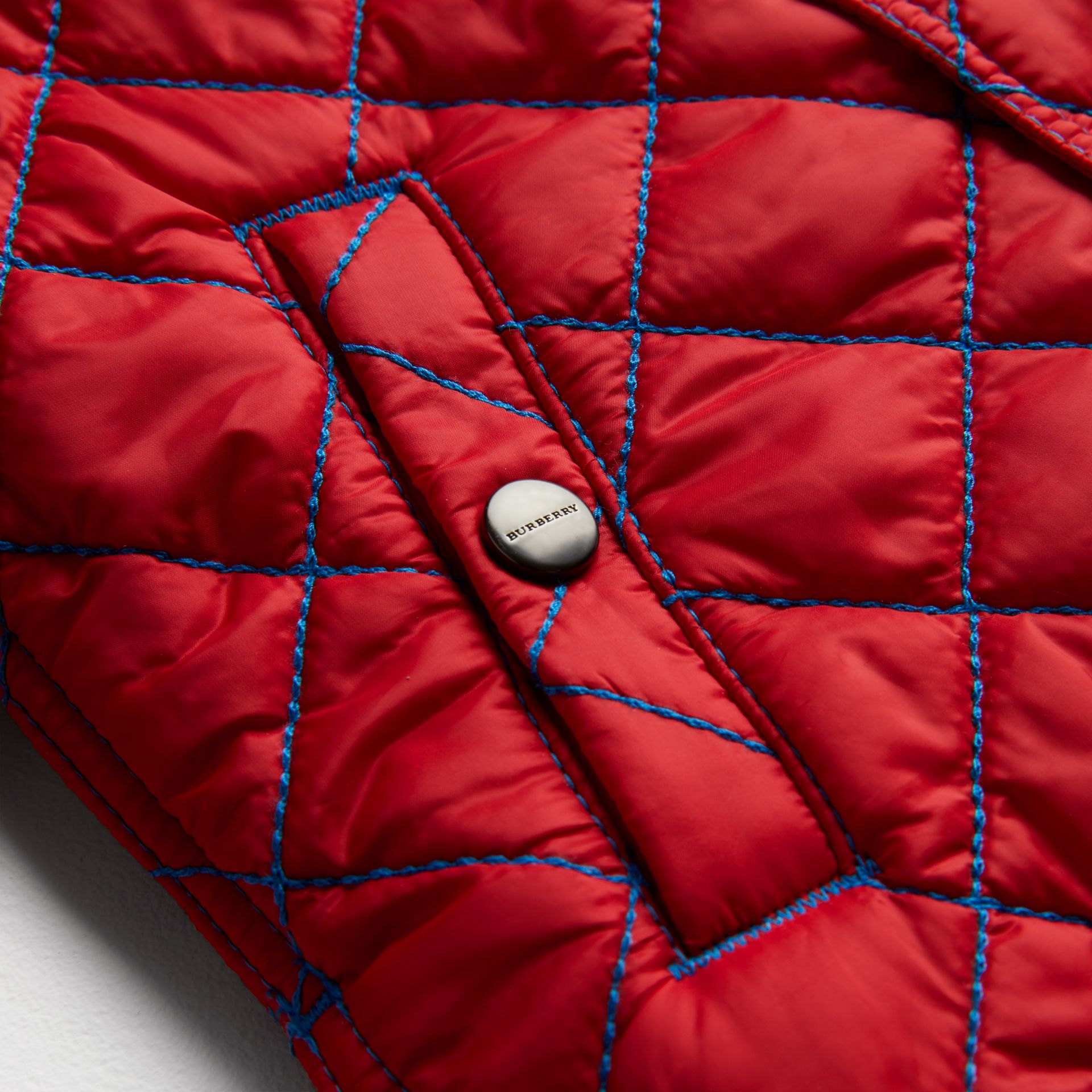 Topstitched Quilted Jacket in Bright Orange Red - Children | Burberry Australia - gallery image 1