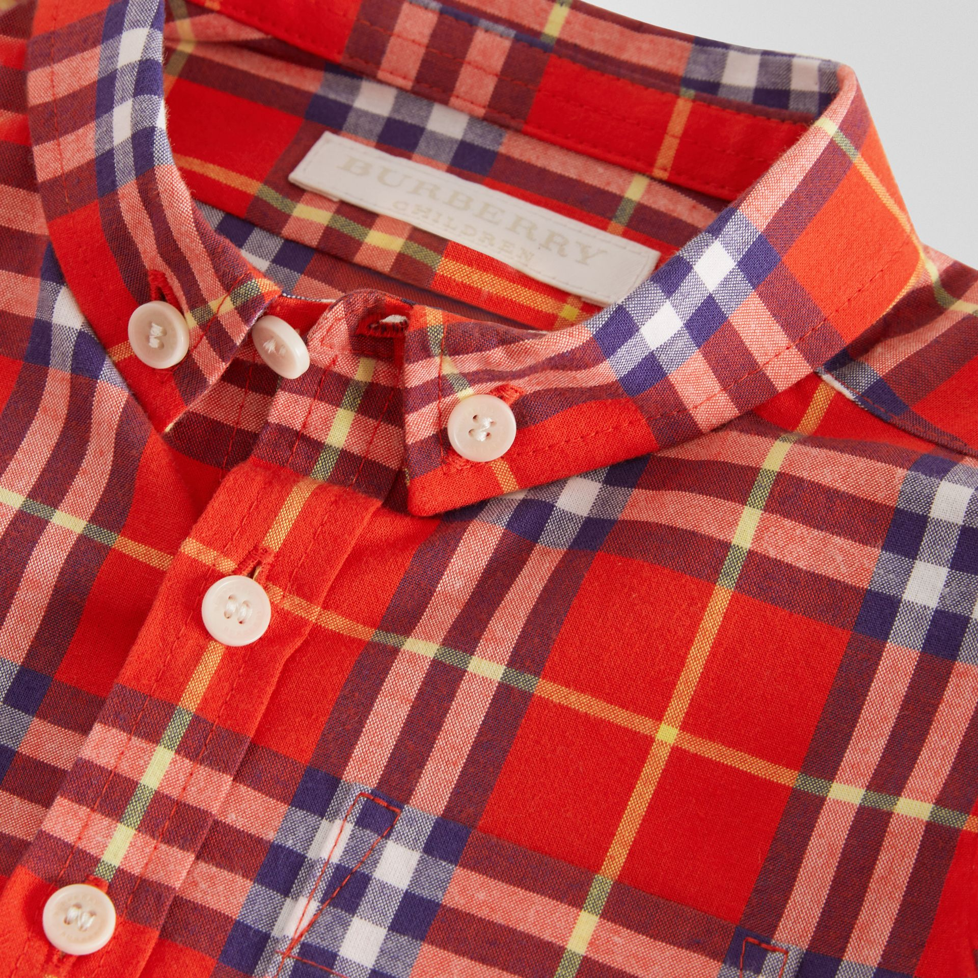 Button-down Collar Check Cotton Shirt in Orange Red | Burberry - gallery image 1