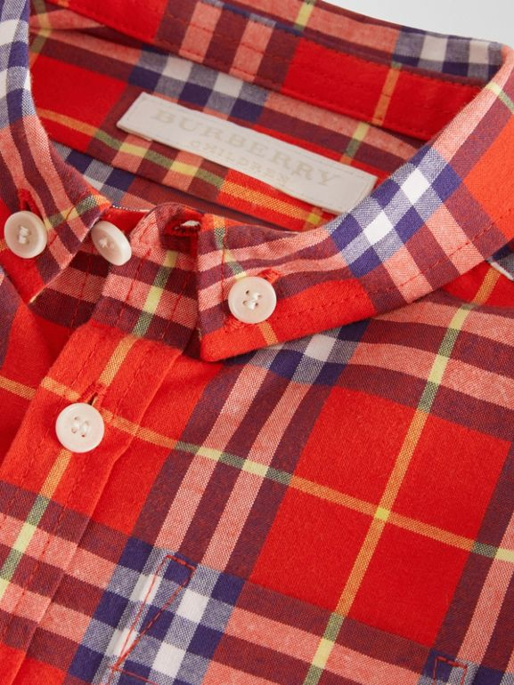Button-down Collar Check Cotton Shirt in Orange Red - Children | Burberry Australia - cell image 1