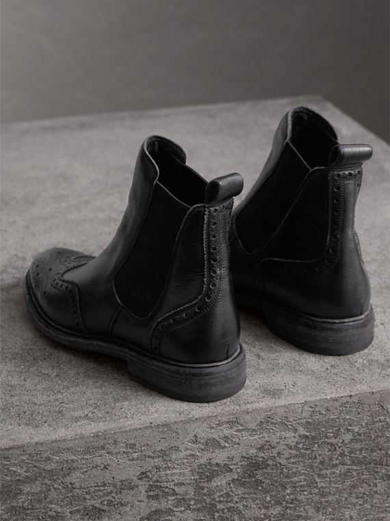 Brogue Detail Textured Leather Chelsea Boots in Black - Women | Burberry Singapore - cell image 3