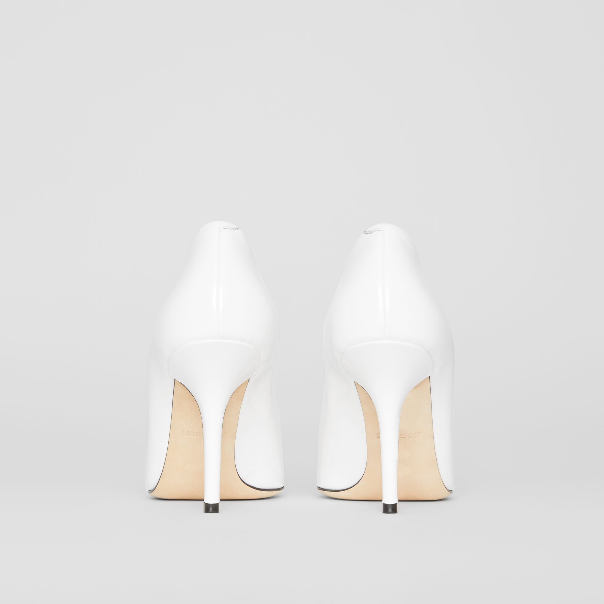 Tape Detail Leather Pumps in Optic White/black - Women | Burberry - gallery image 4