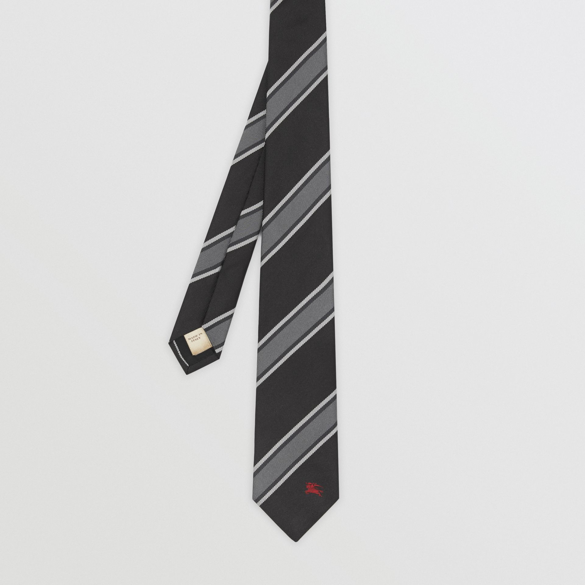 Slim Cut Striped Silk Jacquard Tie in Black - Men | Burberry Hong Kong - gallery image 3
