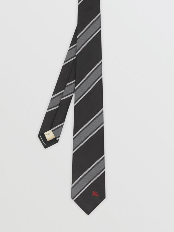 Slim Cut Striped Silk Jacquard Tie in Black - Men | Burberry Australia - cell image 3