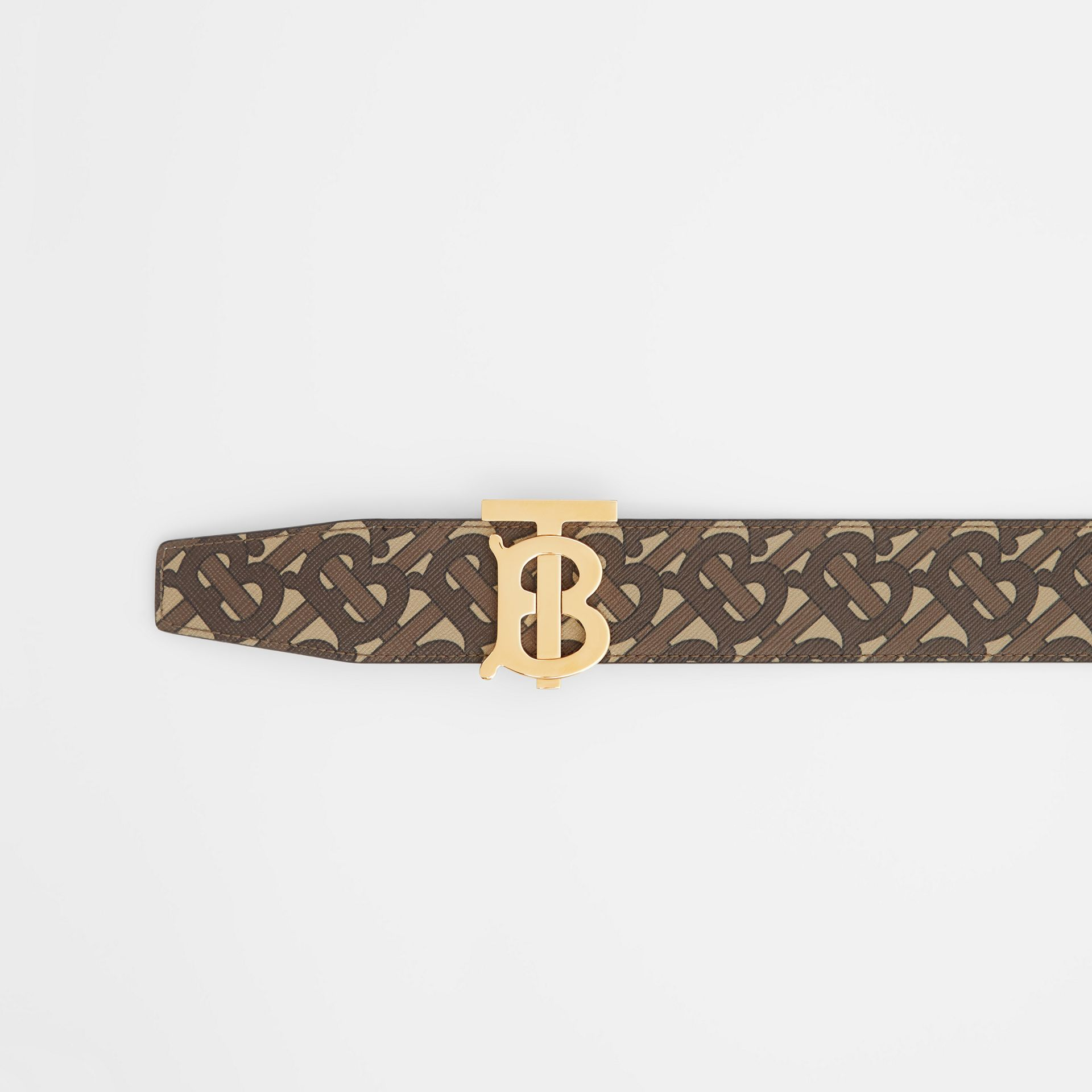 Reversible Monogram E-canvas and Leather Belt in Bridle Brown - Men | Burberry United Kingdom - gallery image 1
