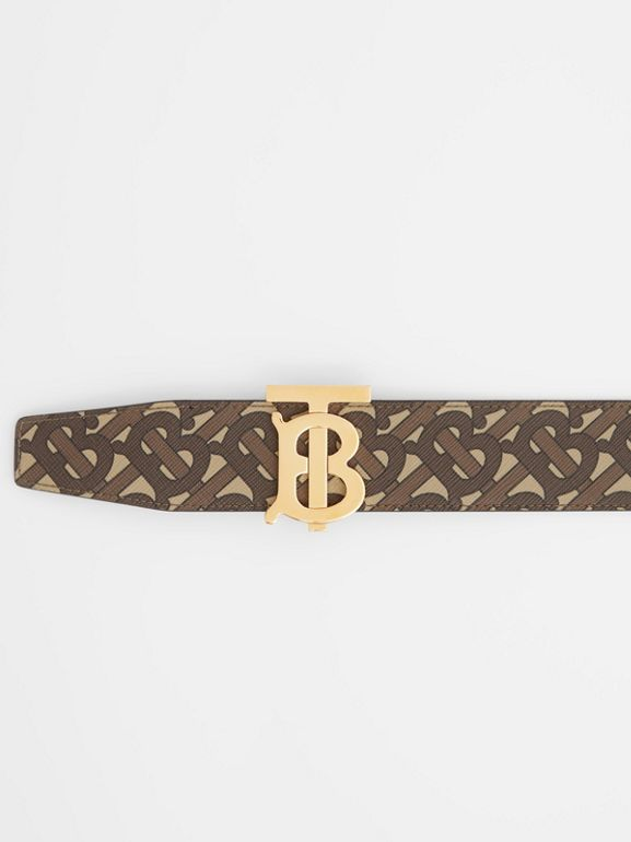 Reversible Monogram E-canvas and Leather Belt in Bridle Brown - Men | Burberry United Kingdom - cell image 1